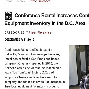 Press Release: Conference Rental / Technology